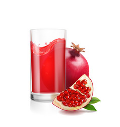Pomegranate juice in a glass vector