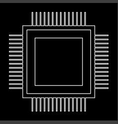 Processor the white path icon vector