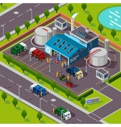 Recycling Plant Isometric Concept vector image