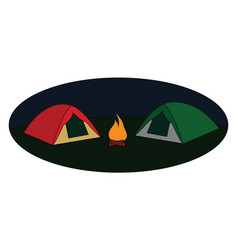 red and green tent on white background vector image