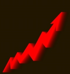Red arrow graph goes up a black background vector
