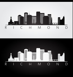 richmond usa skyline and landmarks silhouette vector image