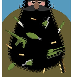 Santa Claus is terrorist with black beard Evil vector image