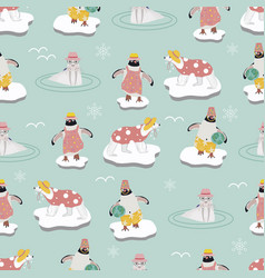 Seamless pattern background with penguins vector