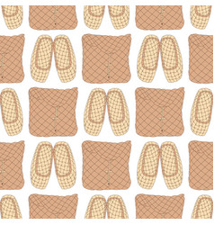 seamless pattern with old russian bast shoes and vector image