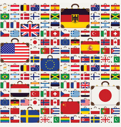 seamless pattern with travel suitcases and flags vector image