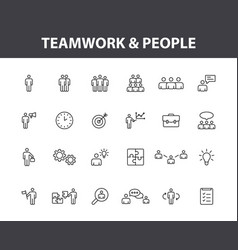 set 24 teamwork web icons in line style team vector image