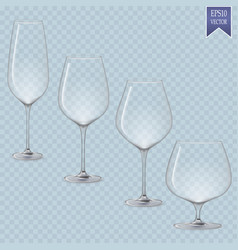 Set cocktail stemware and glasses for alcohol vector