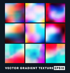 set colorful gradient texture pattern vector image