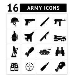 Set icons army and military vector