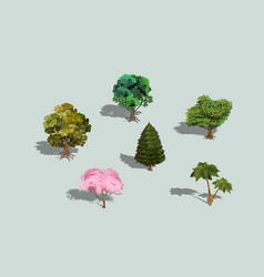 Set of 3d isometric trees with shadow vector