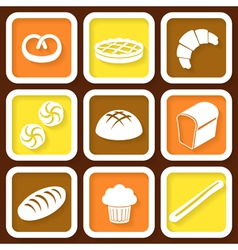Set of 9 retro icons of fresh bread vector image