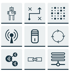 Set of 9 robotics icons includes radio waves vector