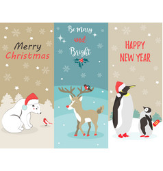 set of holiday greeting cards with funny animals vector image