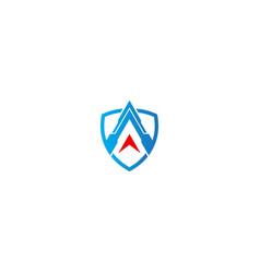 shield protection arrow logo vector image