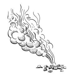 Sketch style a bonfire and smoke vector