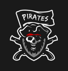 skull captain pirates vector image