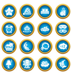 Sleeping icons set simple style vector