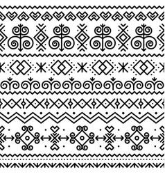Slovak folk art seamless black pattern vector