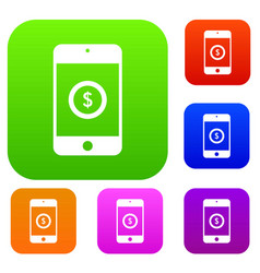 smartphone with dollar sign on display set vector image