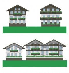 swiss chalet houses vector image
