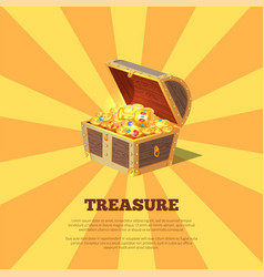Treasure poster with chest vector
