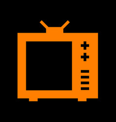 tv sign orange icon on black vector image