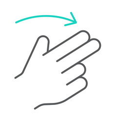 two finger flick right thin line icon gesture and vector image