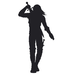 Warrior man silhouette vector image