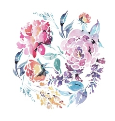 watercolor floral round frame red roses vector image