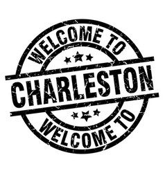 Welcome to charleston black stamp vector