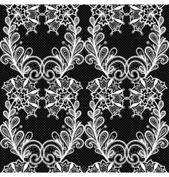 White lace seamless pattern on black background vector