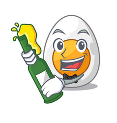 With beer freshly boiled egg isolated on mascot vector