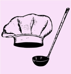 Chef hat soup ladle vector