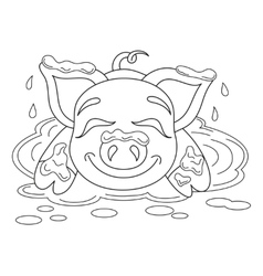 Funny piggy standing on dirt puddle coloring book vector image vector image