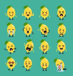 lemon character emoji set vector image