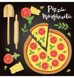 Margherita Pizza with vector image vector image