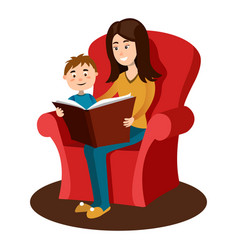 mother read book to child cartoon vector image vector image