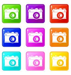 retro camera set 9 vector image vector image