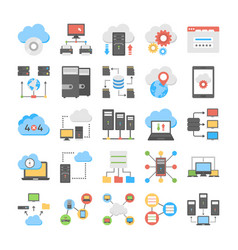 web hosting and cloud storage flat icons vector image