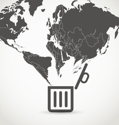 Globe flowing into a garbage basket vector image