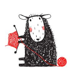 knitting cute sheep hand drawn vector image