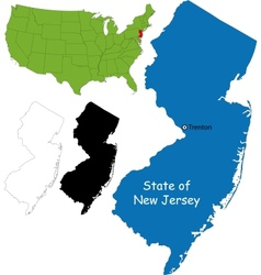 New jersey map vector image vector image