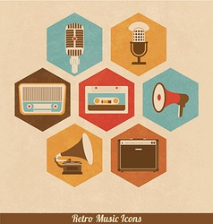 Retro music icons vector