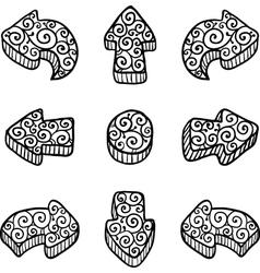 Set of black doodle ornate arrows vector image vector image