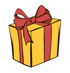 yellow gift box with a red ribbon icon cartoon vector image