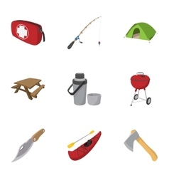 Campground icons set cartoon style vector image vector image