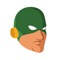 superhero man face male with the mask cartoon vector image