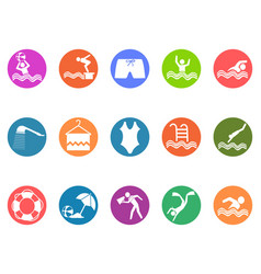 swimming pool round button icons set vector image vector image