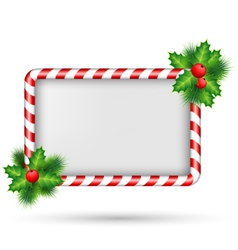 Candy cane frame with holly isolated on white vector image vector image